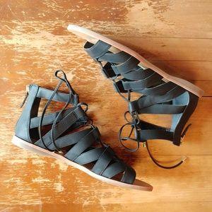 Franco Sarto Gladiator Black Lace Up Sandals 8